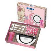 Kit Infantil Tramontina para Refeição Rosa em Aço Inox 6 Peças 64250/645 | Lojas Estrela