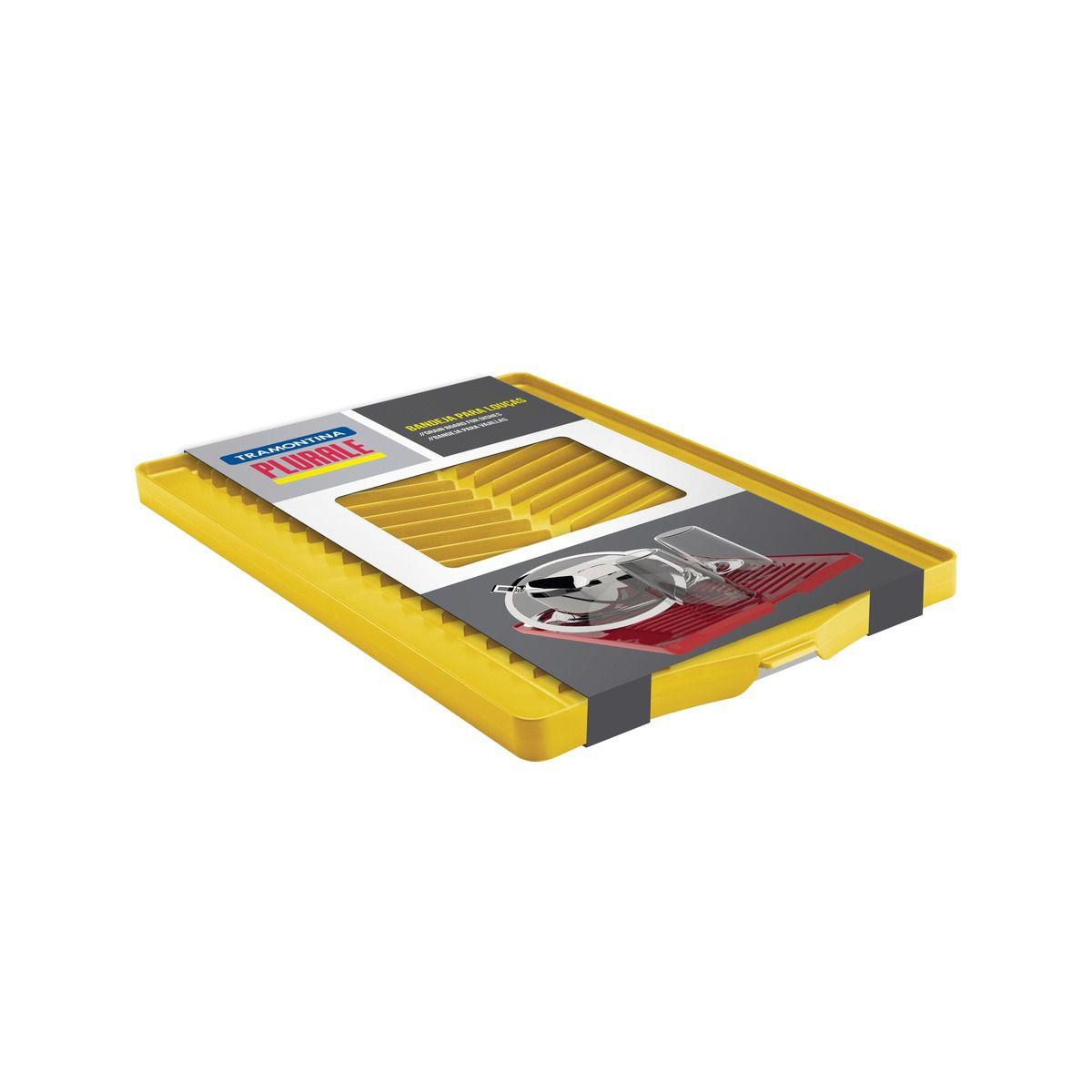 Bandeja Tramontina para Louça em Polipropileno Amarela com Superfície Coletora 61535/780   Lojas Estrela
