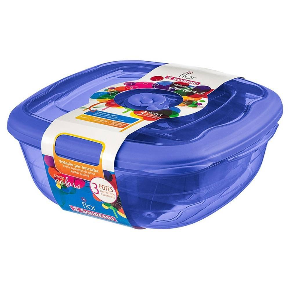 Conjunto 3 Potes Plastico Azul Sanremo