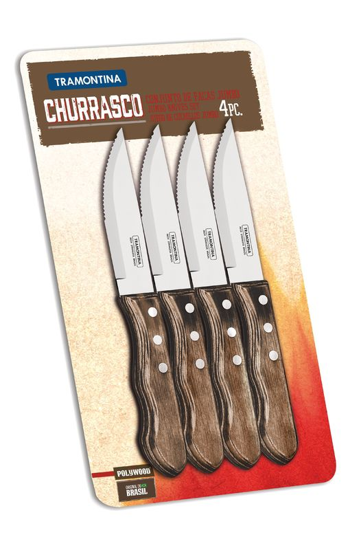 Conjunto de Facas para Churrasco Jumbo Tramontina em Aço Inox Castanho 21199/931