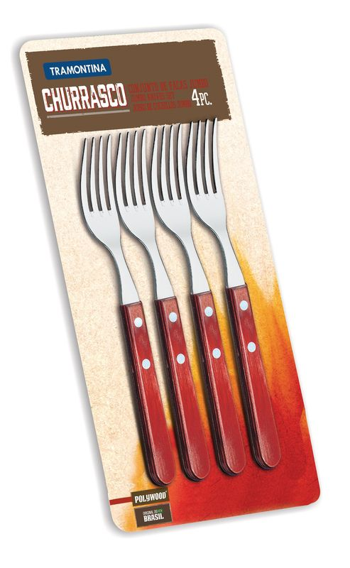 Conjunto de Garfos Jumbo para Churrasco Tramontina em Aço Inox Vermelho 21199/797