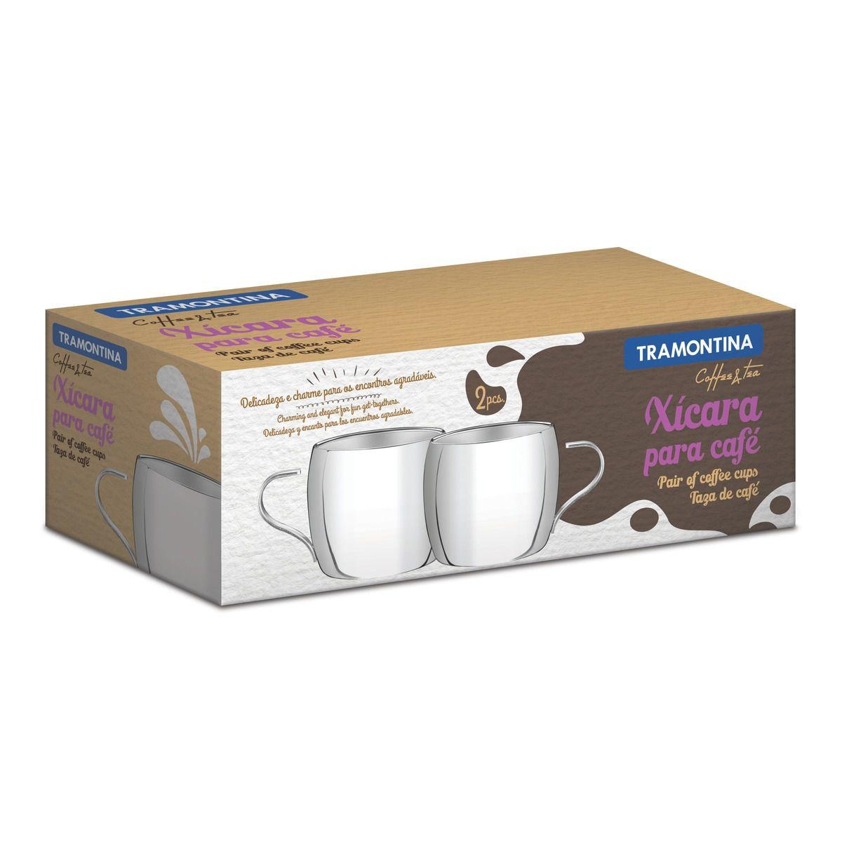 Conjunto de Xícaras Inox Tramontina para Café Acabamento Brilho 2 Peças 64430/780 | Lojas Estrela