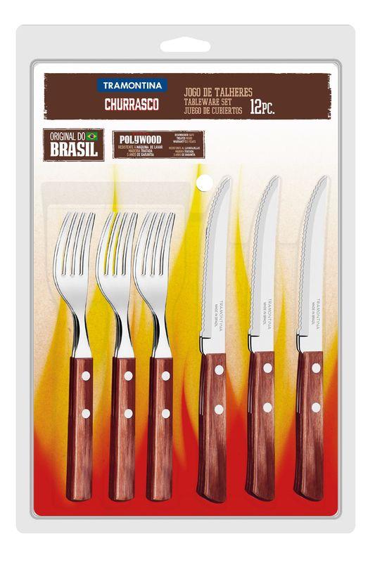 Conjunto Tramontina para Churrasco inox 12 peças Polywood 21199/711 Vermelho