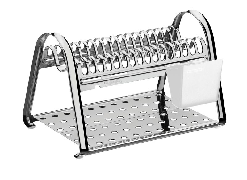Escorredor de Louça Tramontina em Aço Inox com Porta Talheres Branco 61530/100 | Lojas Estrela