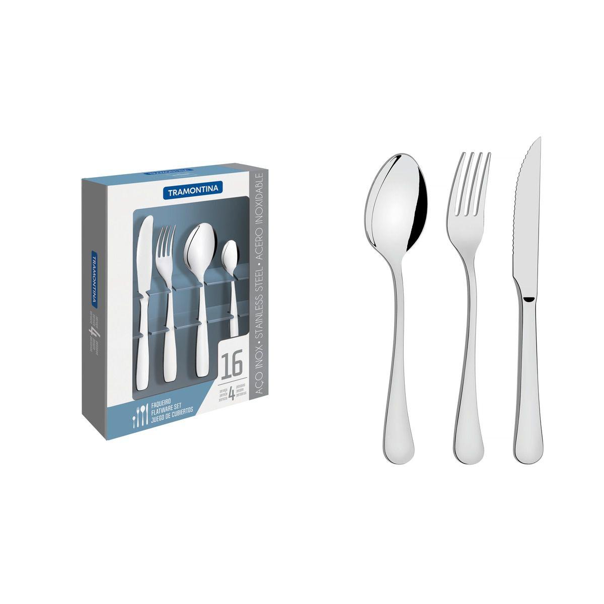 Faqueiro aço inox 16 pç. 66986/554 | Lojas Estrela