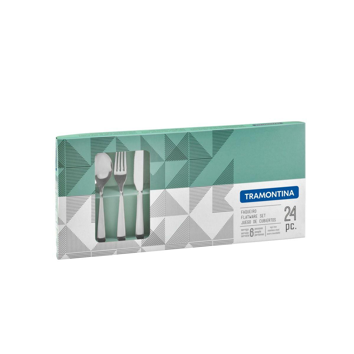 Faqueiro aço inox com faca de mesa 24 pç. 66901/000 | Lojas Estrela