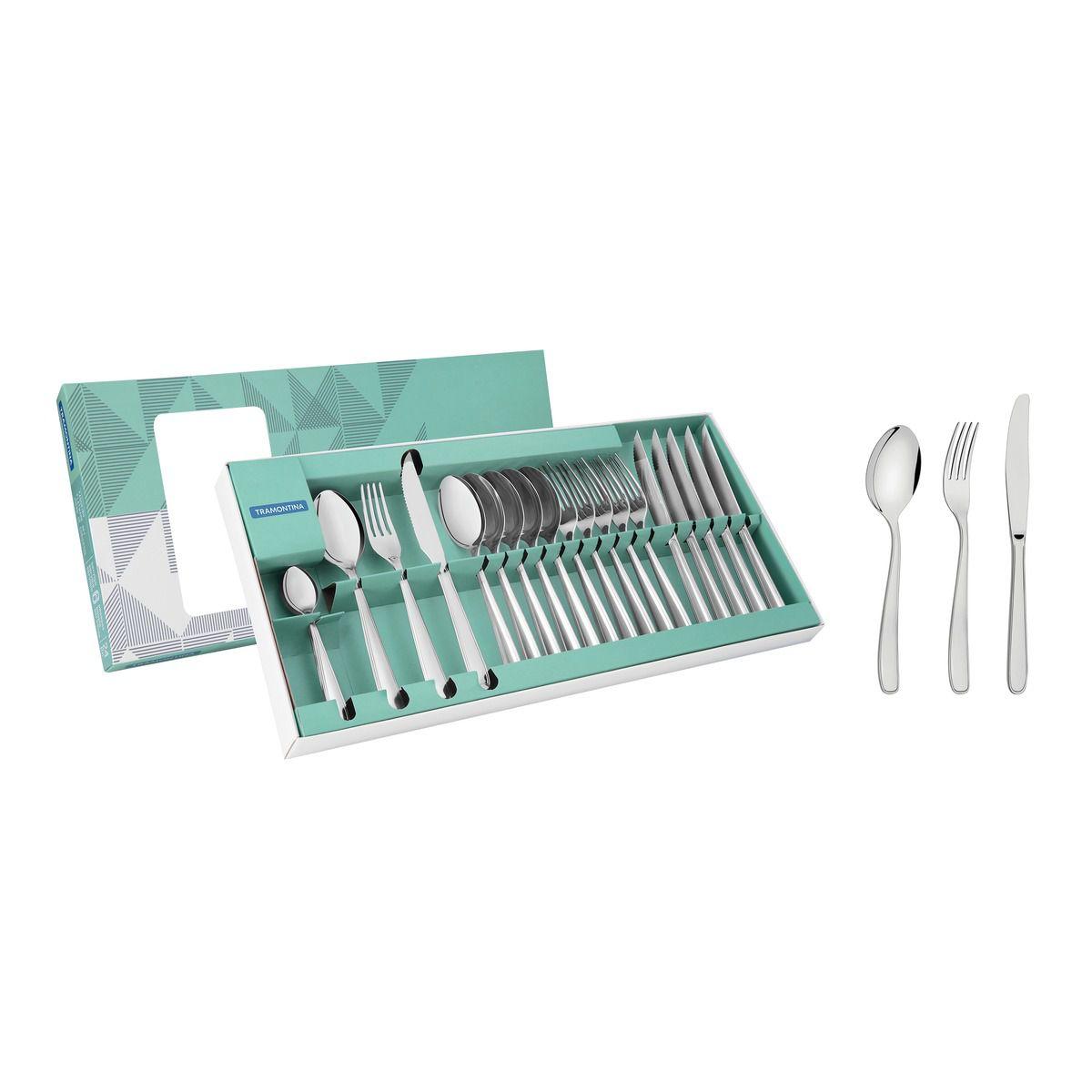 Faqueiro aço inox com faca de mesa 24 pç. 66902/000 | Lojas Estrela