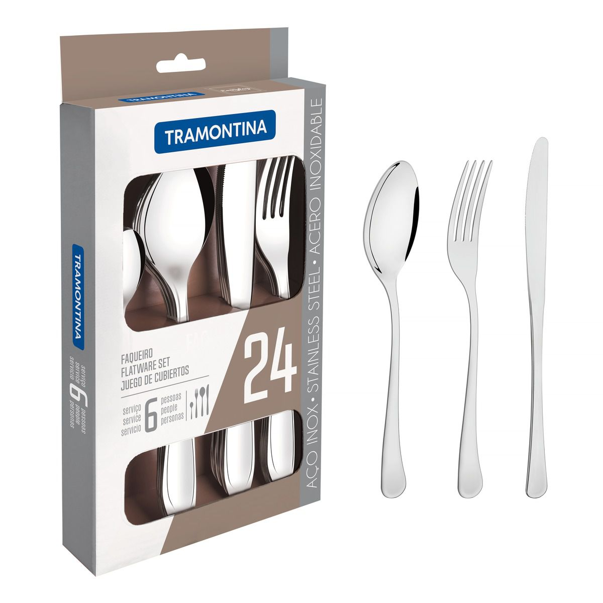 Faqueiro aço inox com faca de mesa 24 pç. 66945/010 | Lojas Estrela