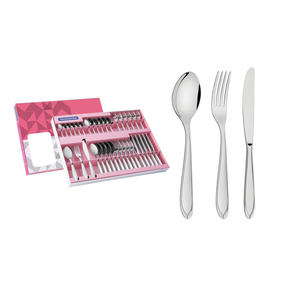 Faqueiro aço inox com faca de mesa 36 pç. 66906/790 | Lojas Estrela