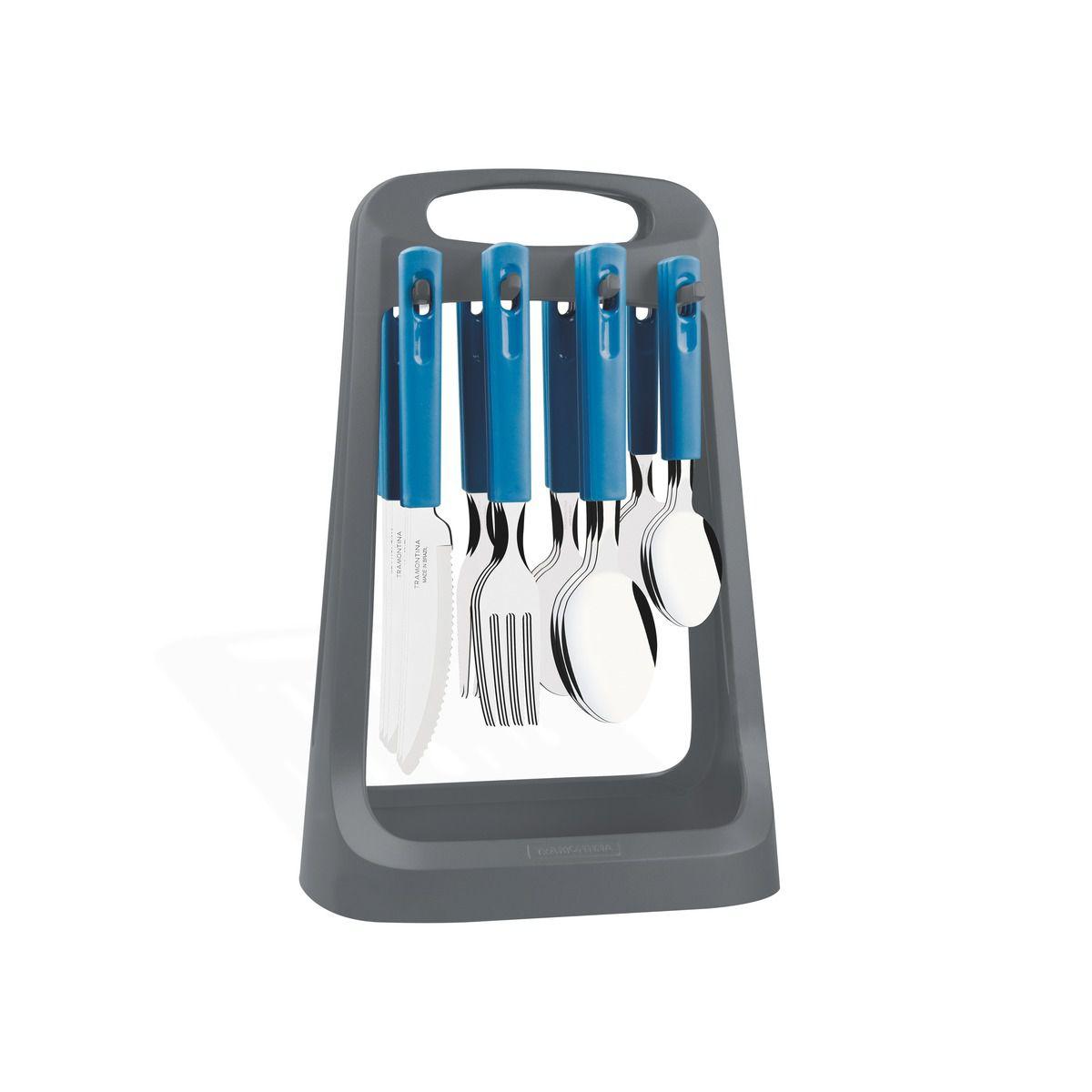 Faqueiro Tramontina Azul em Aço Inox e Cabo Polipropileno com Facas para Churrasco 24 Peças com Suporte 23198/120 | Lojas Estrela