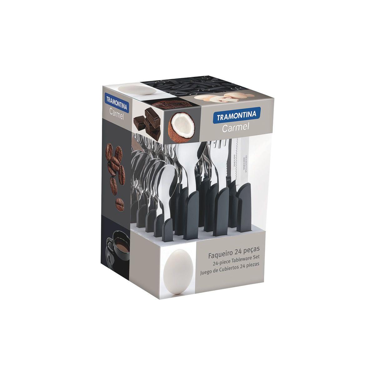 Faqueiro Tramontina Natural/Escuro em Aço Inox e Cabo Polipropileno com Facas para Churrasco 24 Peças 23499/021 | Lojas Estrela