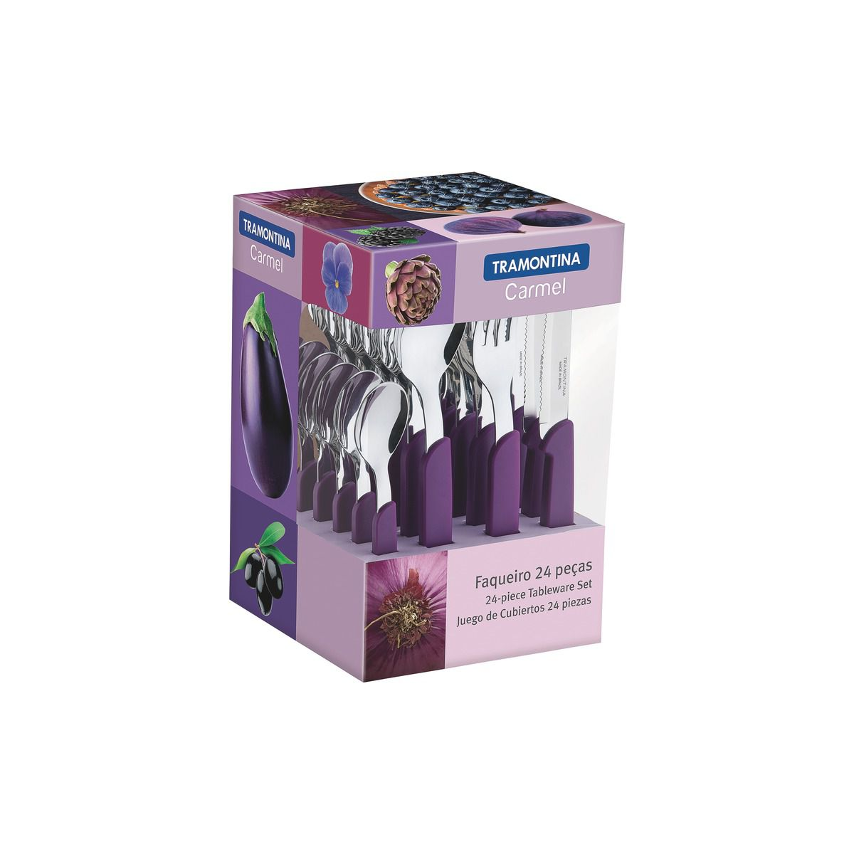 Faqueiro Tramontina Púrpura/Escuro em Aço Inox e Cabo Polipropileno com Facas para Churrasco 24 Peças 23499/030   Lojas Estrela