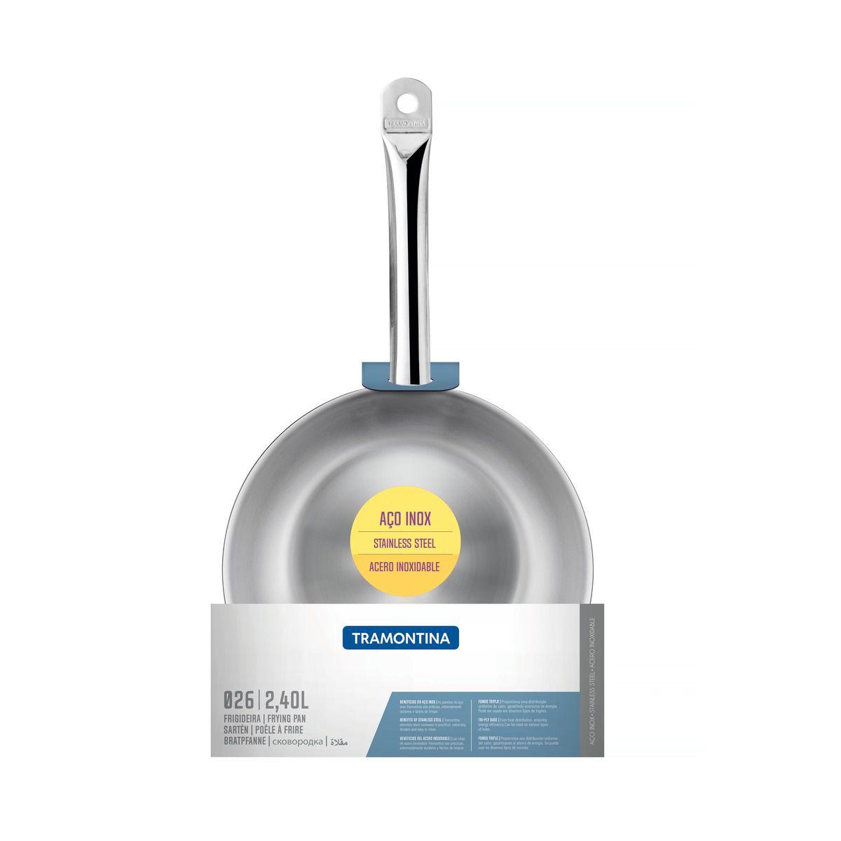 Frigideira Tramontina Funda em Aço Inox Fundo Triplo com Cabo 26 cm 2,4 L 62637/260 | Lojas Estrela