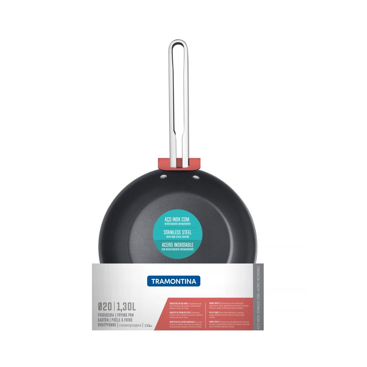 Frigideira Tramontina Ventura em Aço Inox com Revestimento Interno Antiaderente 20 cm 1,3 L 62376/207   Lojas Estrela