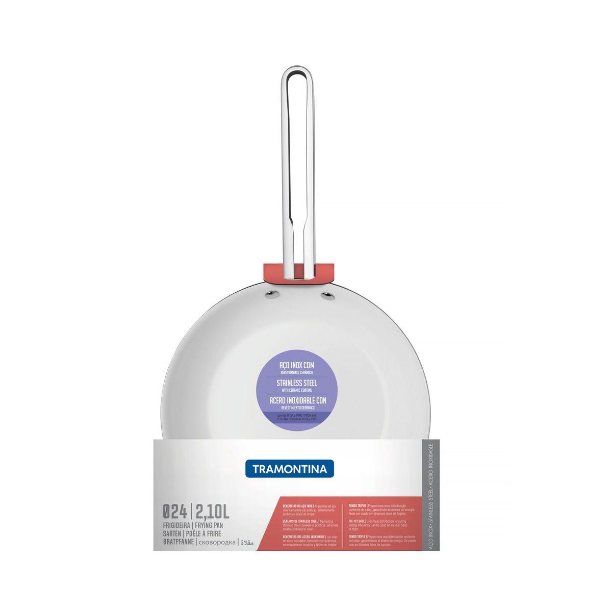 Frigideira Tramontina Ventura em Aço Inox com Revestimento Interno Cerâmico 24 cm 2,1 L 62376/244 | Lojas Estrela