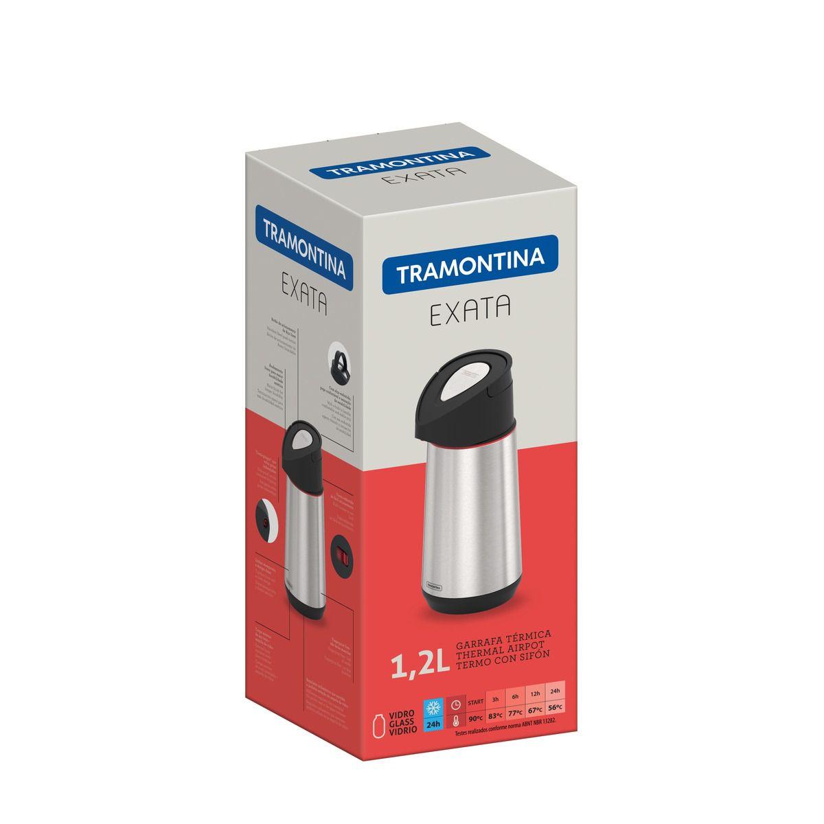 Garrafa Térmica Tramontina Exata em Aço Inox com Ampola de Vidro 1,2 L 61641/120 | Lojas Estrela