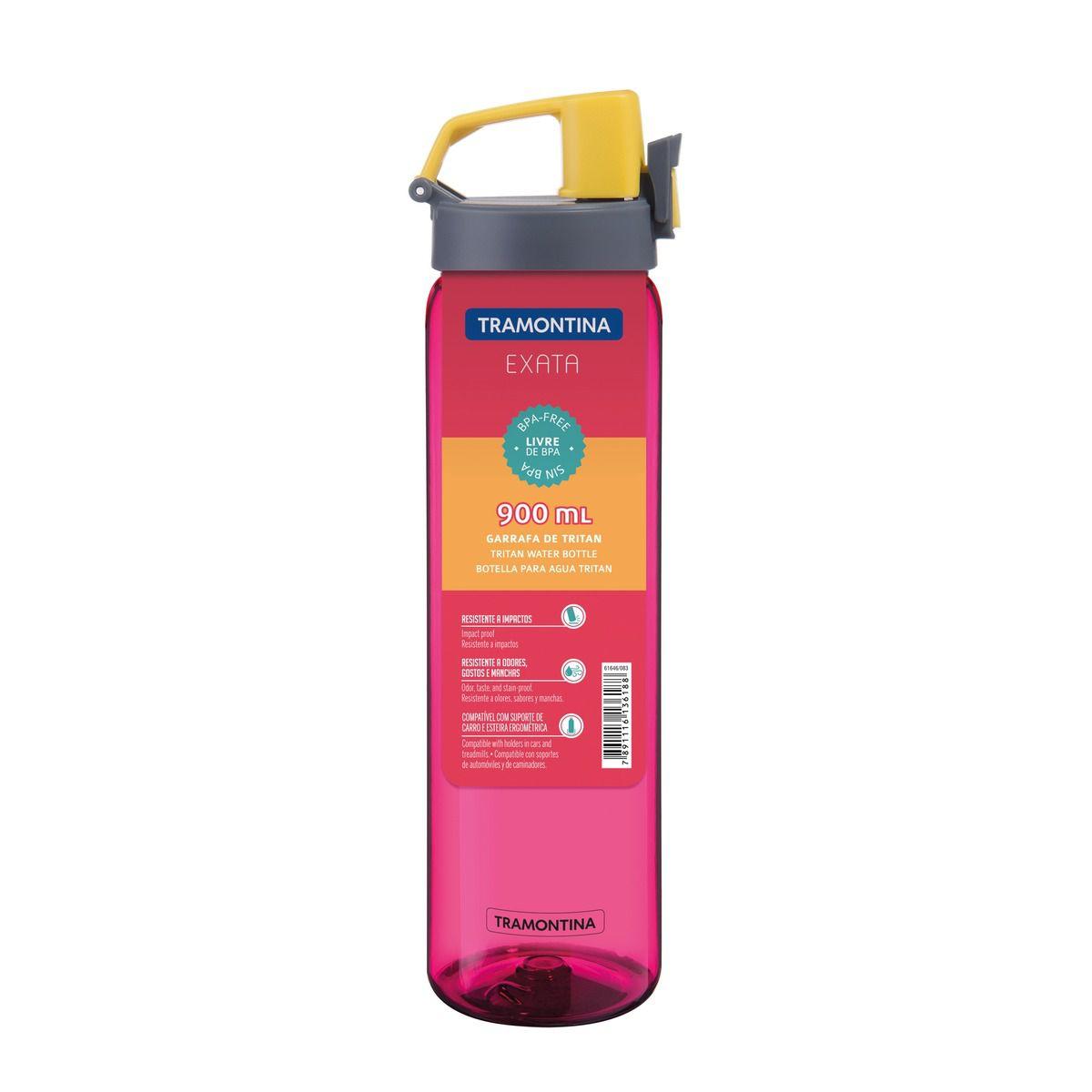Garrafa Tramontina Rosa em Tritan com Parede Simples 0,9 L 61646/086 | Lojas Estrela