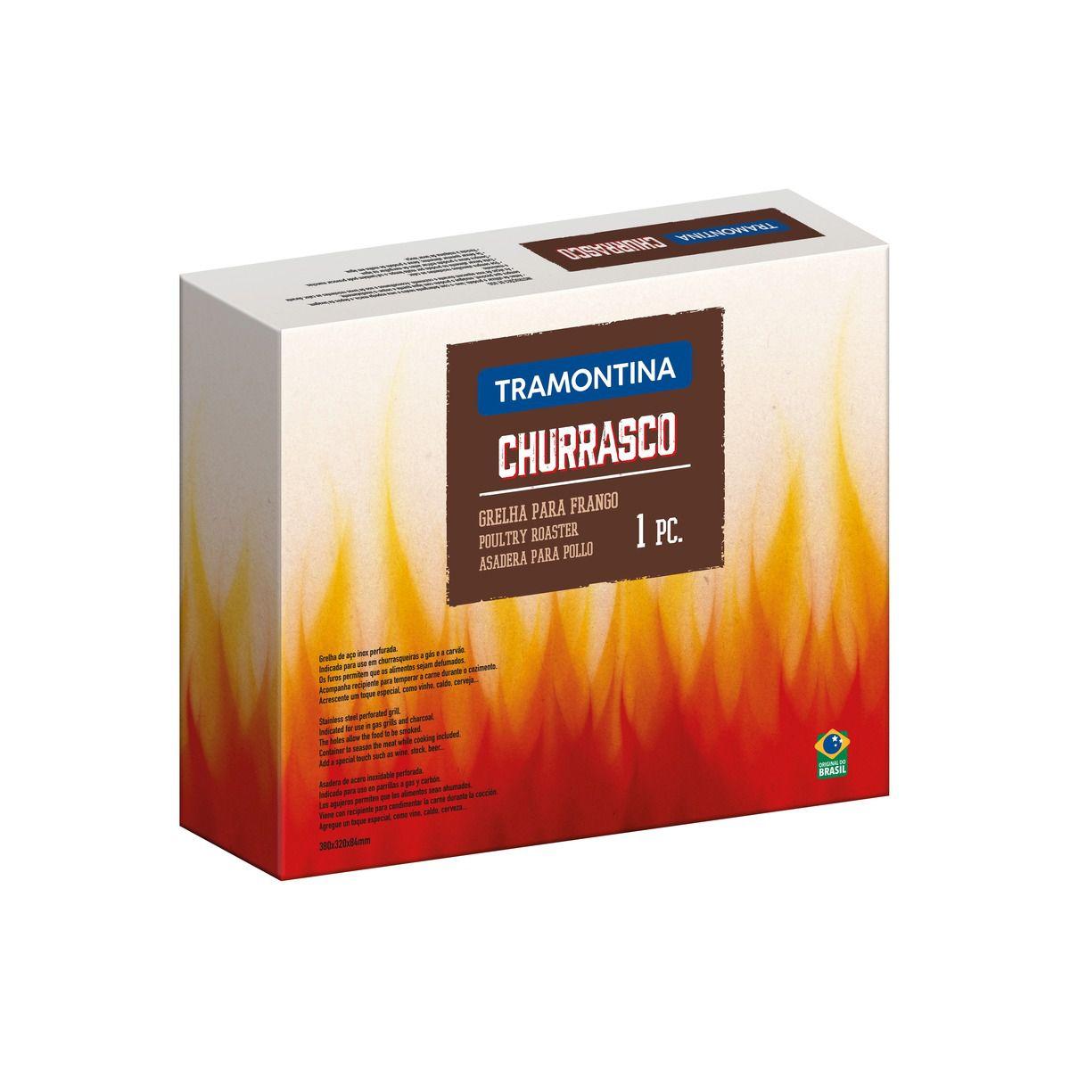 Grelha Tramontina para Frango em Aço Inox com Recipiente para Temperos 38 x 32 cm 61322/280 | Lojas Estrela