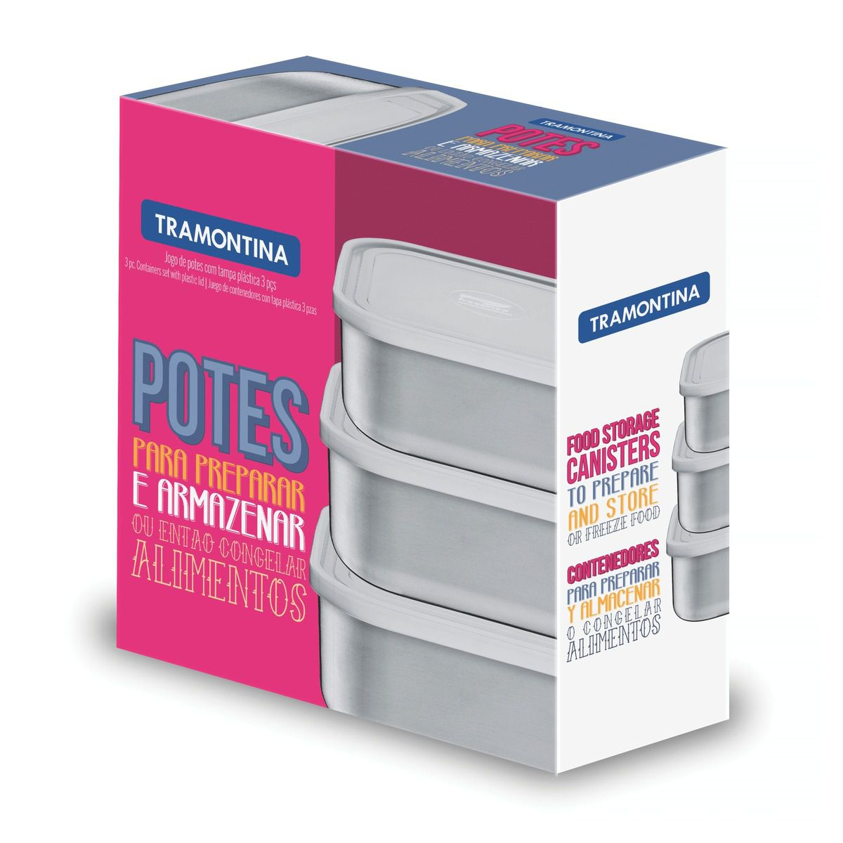 Jogo de Potes Tramontina Freezinox Quadrados em Aço Inox com Tampa Plástica 3 Peças 64220/920 | Lojas Estrela