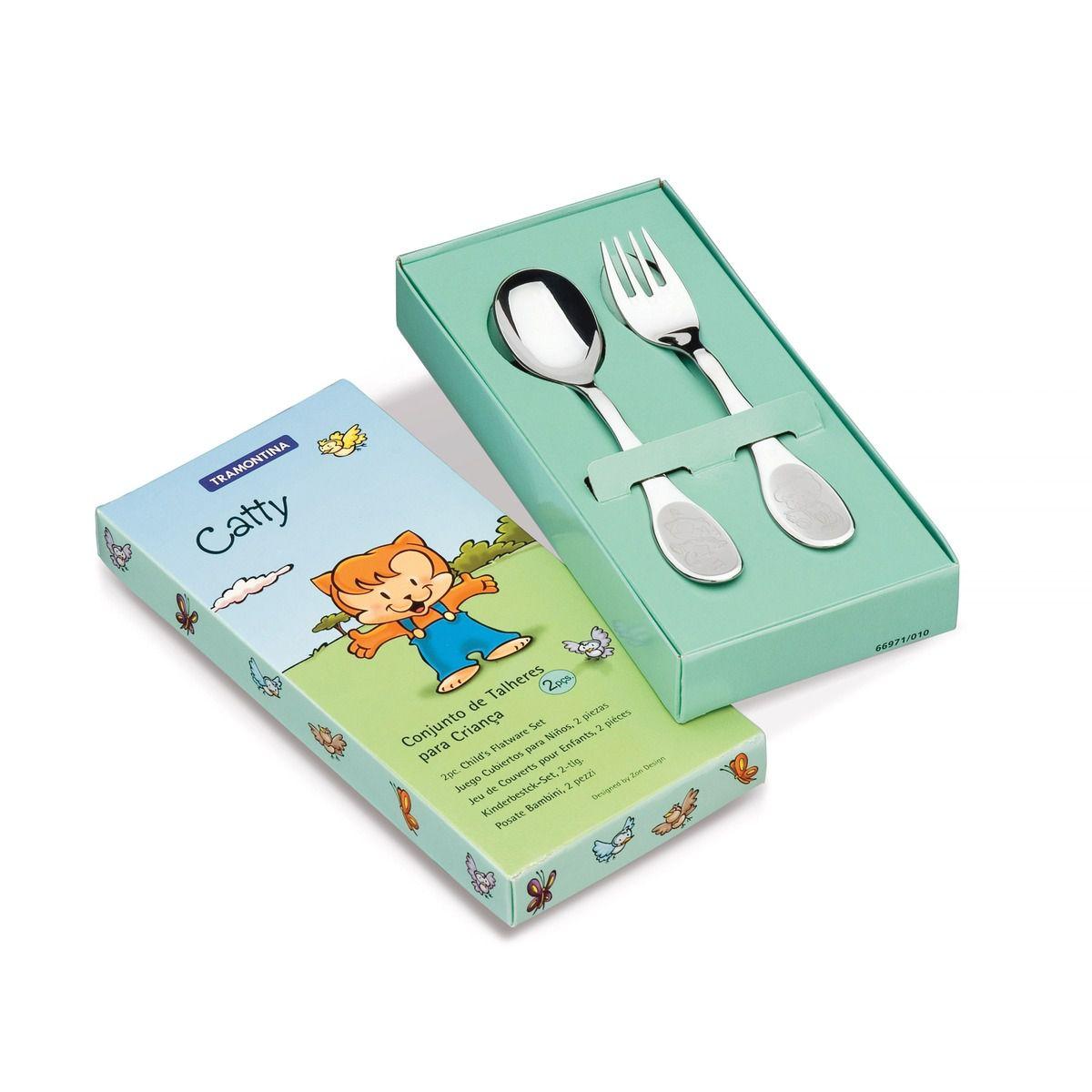 Jogo de Talheres Infantil Tramontina Catty em Aço Inox 2 Peças 66971/010 | Lojas Estrela