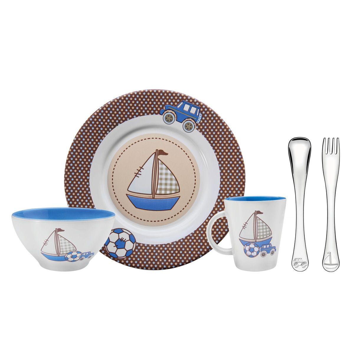 Kit Infantil Tramontina para Refeição Azul em Cerâmica e Aço Inox 5 Peças 64250/620   Lojas Estrela