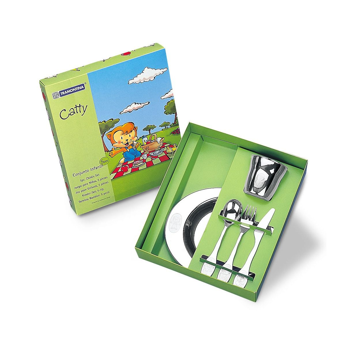 Kit Infantil Tramontina para Refeição em Aço Inox  5 Peças 64250/940 | Lojas Estrela