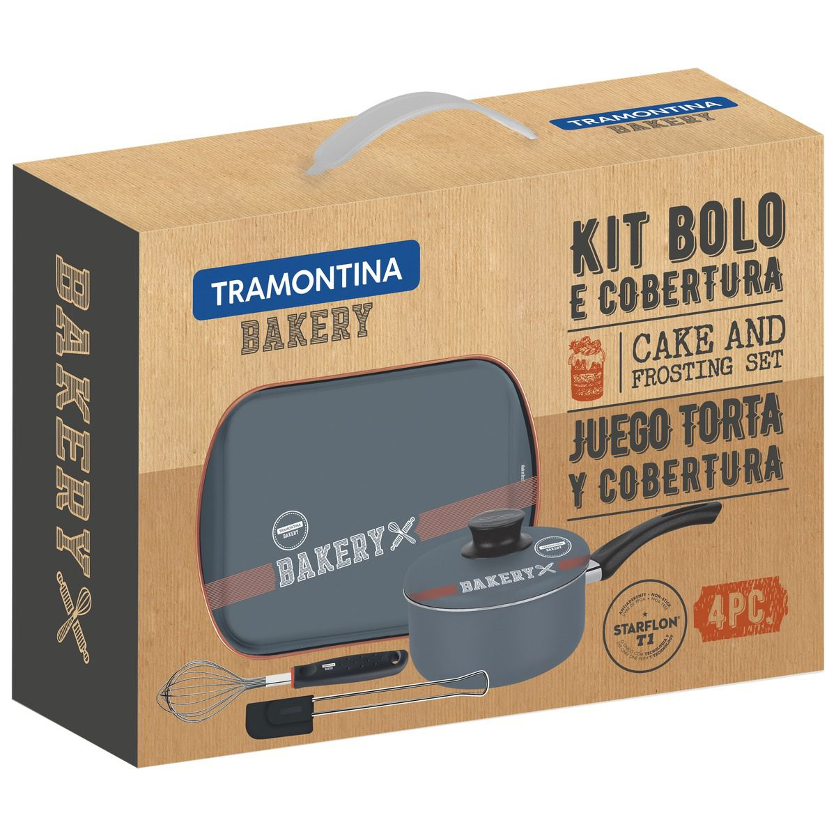 Kit para Bolo e Cobertura Tramontina em Alumínio com Revestimento Interno Cobre Antiaderente Starflon T1 4 Peças 27899/062 | Lojas Estrela