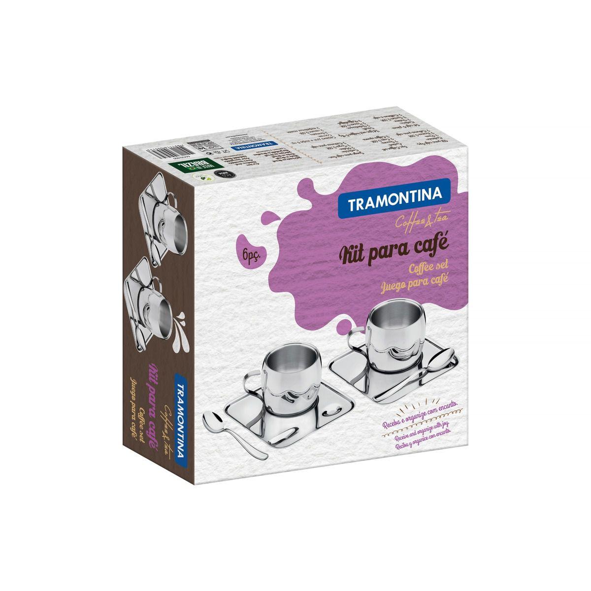 Kit para Café Tramontina em Aço Inox Acabamento Brilho com Xícara Píres Quadrado e Colher 6 Peças 64430/800 | Lojas Estrela