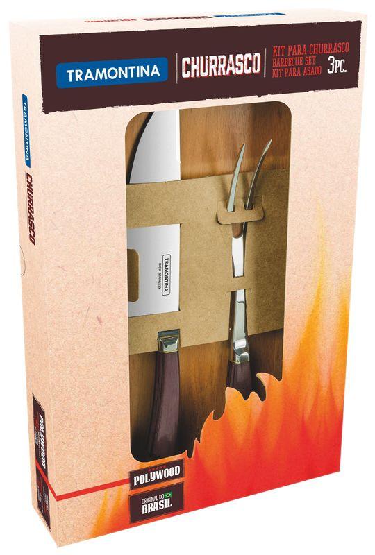 Kit para Churrasco 3 Pçs Tramontina Castanho 21599/958