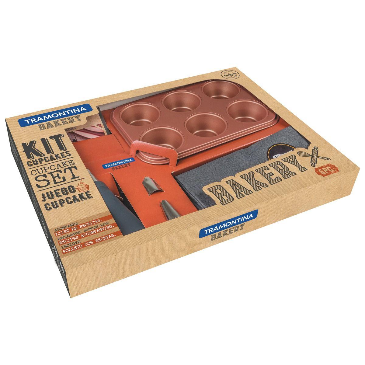 Kit para Cupcake Tramontina em Alumínio com Revestimento Interno Antiaderente Starflon T1 6 Peças 29899/065 | Lojas Estrela