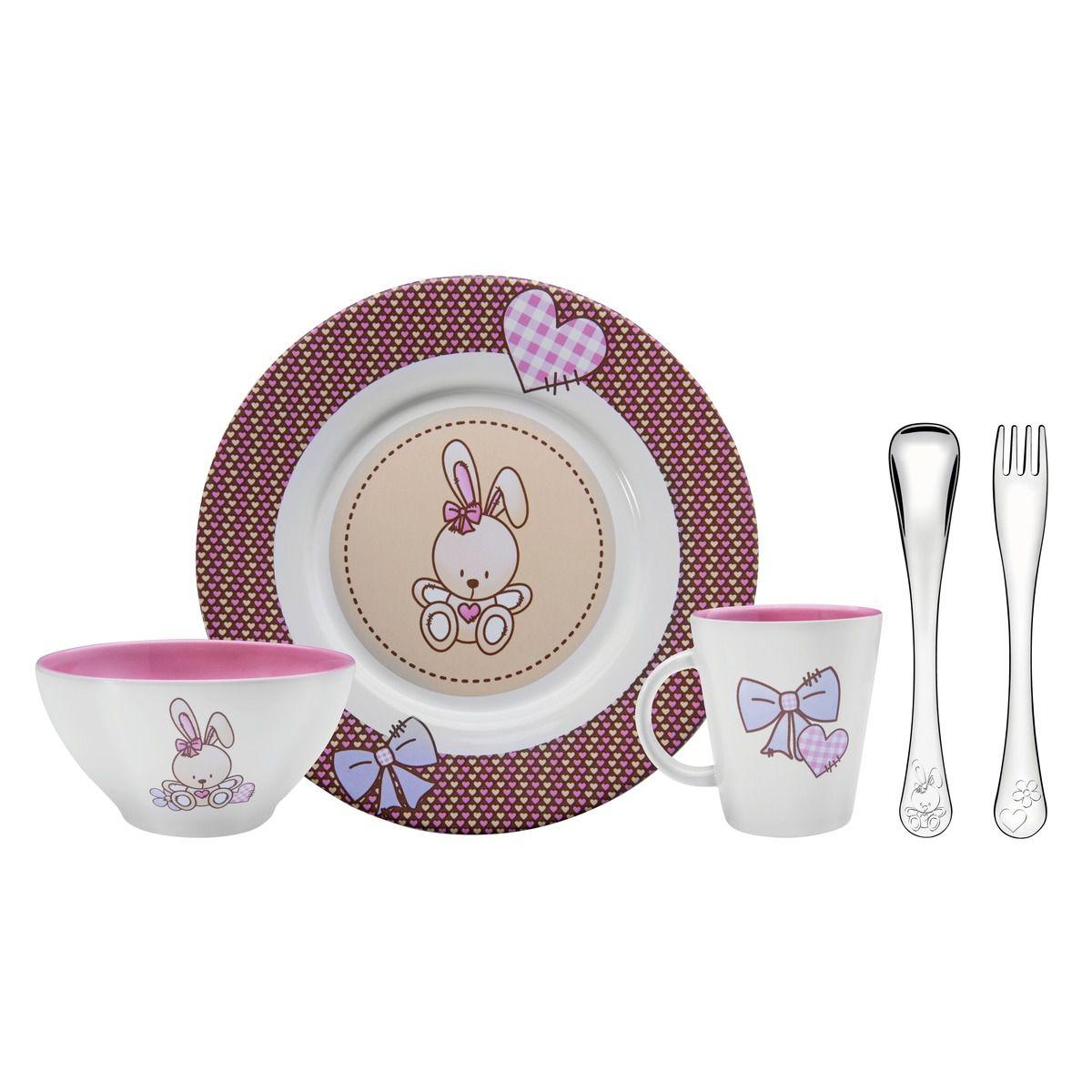 Kit para Refeição Tramontina Le Petit em Cerâmica e Aço Inox Rosa 5 Peças 64250/625 | Lojas Estrela