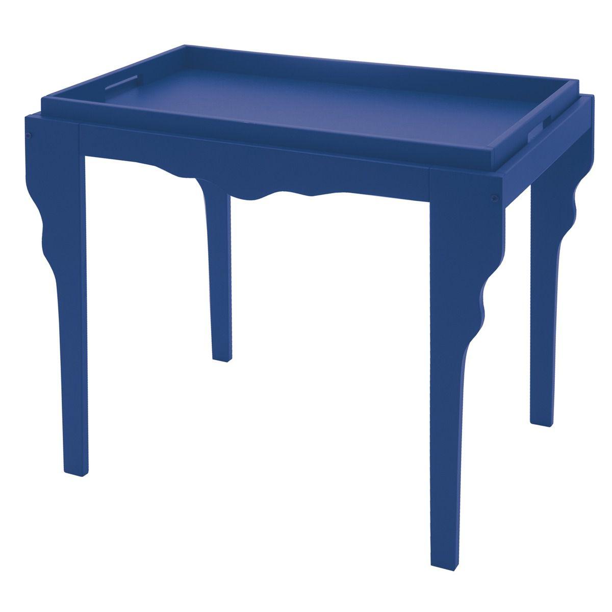 Mesa de Apoio Retrô Azul com Bandeja de Madeira 13007/808 | Lojas Estrela