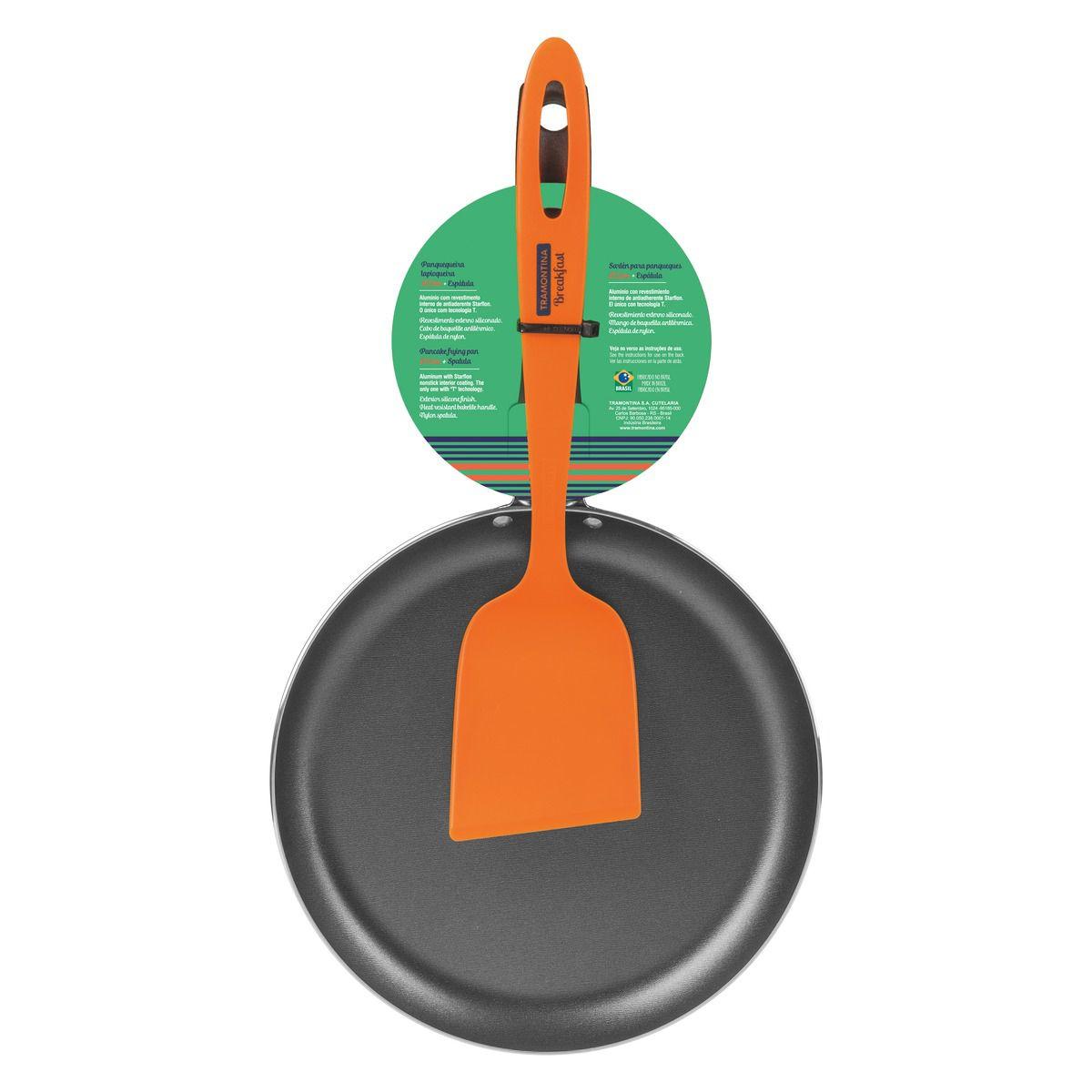 Panquequeira/Tapioqueira Tramontina em Alumínio com Revestimento Interno Antiaderente Starflon T1 Cabo Baquelite 22 cm com Espátula Laranja de Nylon 27813/002 | Lojas Estrela