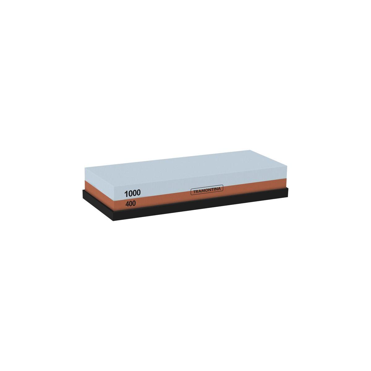 Pedra para Afiar Tramontina com Granulação 400 e 1000 Dupla Face com Suporte Emborrachado 24029/000 | Lojas Estrela