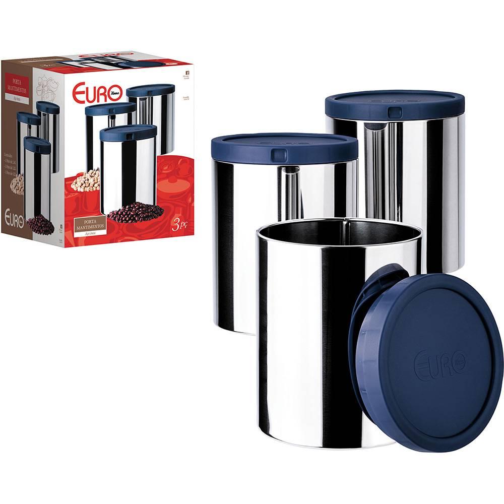 Porta Mantimentos Euro 3 Pçs Azul | Lojas Estrela
