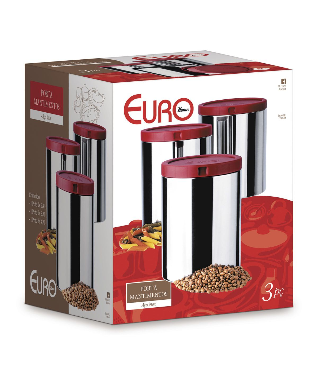 Porta Mantimentos Euro 3 Pçs Vermelho | Lojas Estrela