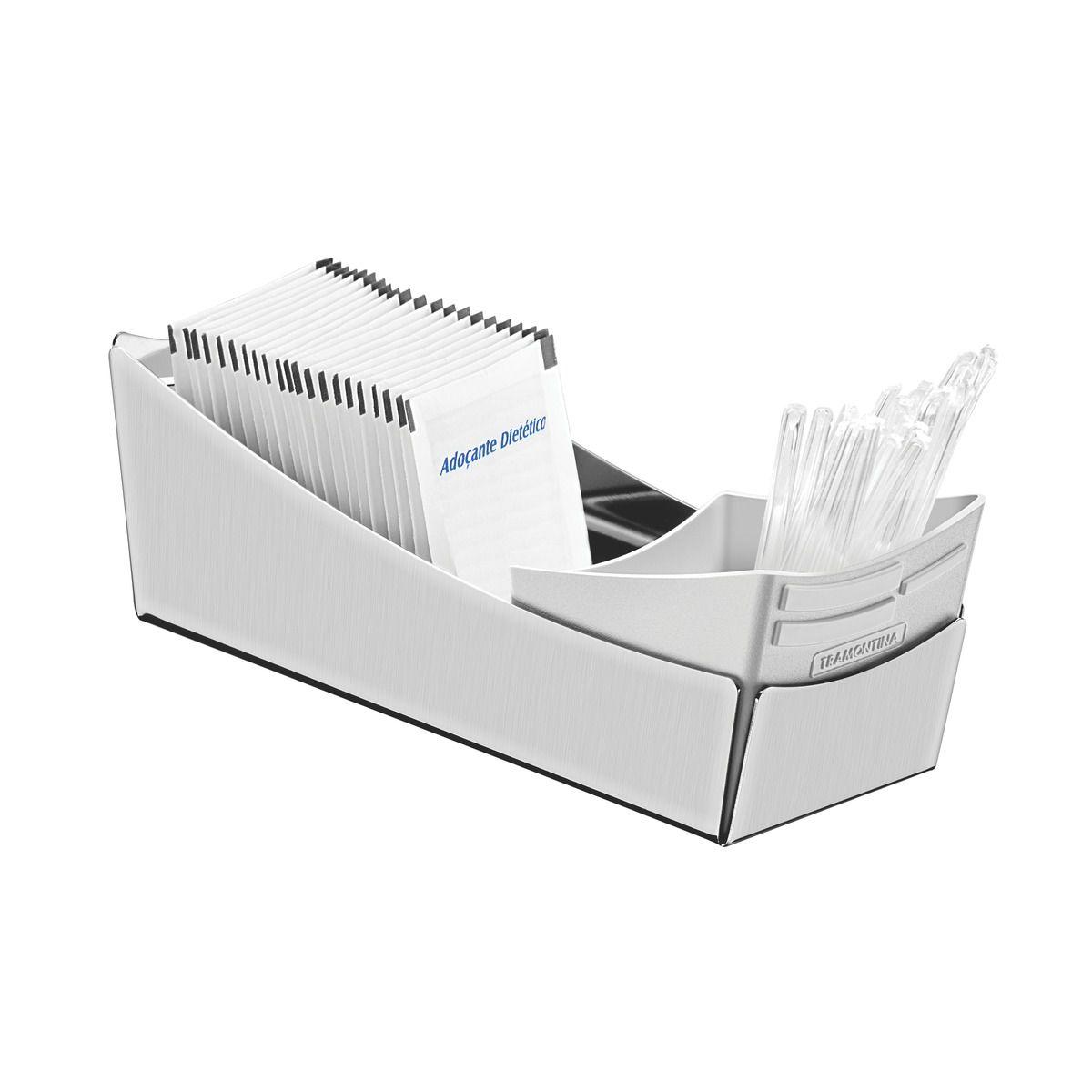 Porta Sachês Tramontina em Aço Inox com Suporte para Colheres em Plástico 61531/000 | Lojas Estrela