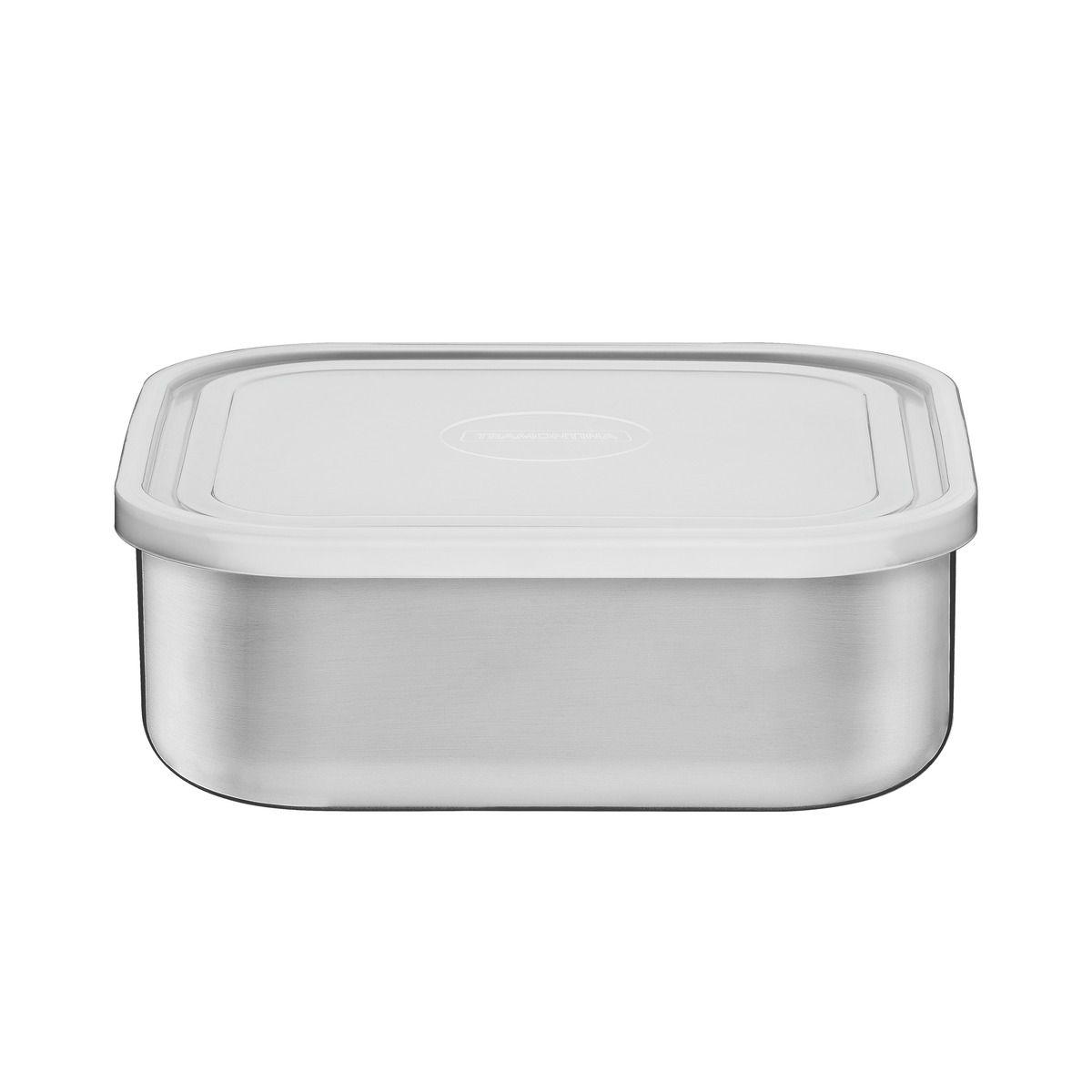 Pote Tramontina Freezinox em Aço Inox Quadrado com Tampa Plástica 23 cm 3,6 L 61229/230 | Lojas Estrela