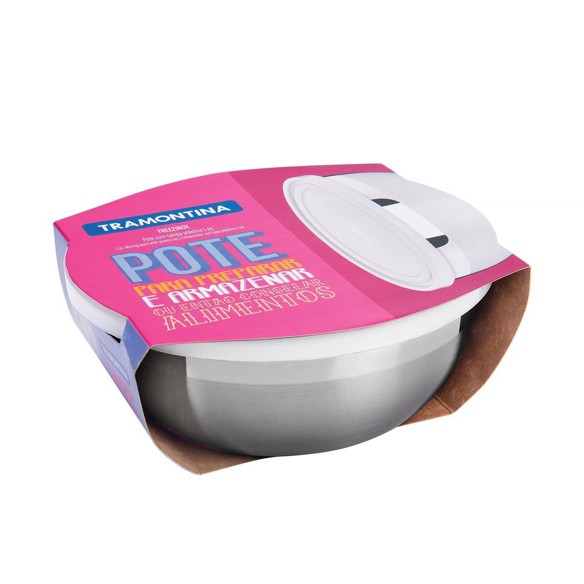 Pote Tramontina Freezinox Redondo em Aço Inox com Tampa Plástica 25 cm 4,2 L 61222/250 | Lojas Estrela