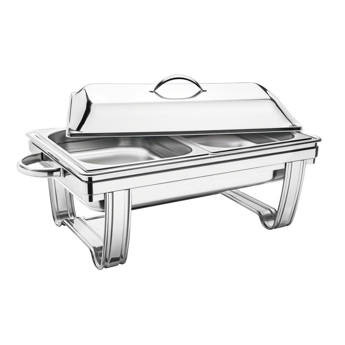 Rechaud banho-maria retangular com tampa removível aço inox 61047/023 | Lojas Estrela