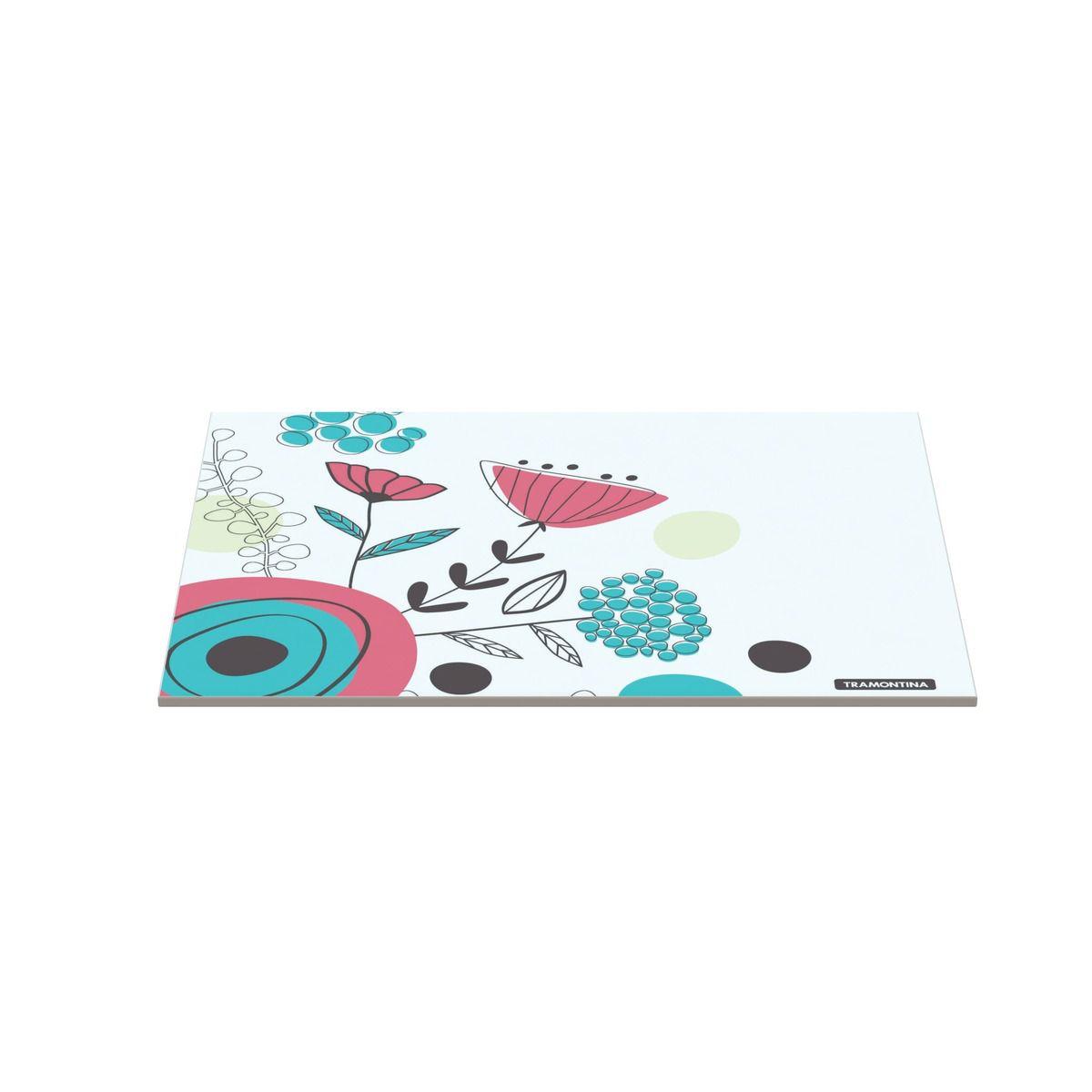 Tábua Tramontina Retangular em Vidro Branco com Estampa Floral 25x35 cm 10399/003   Lojas Estrela