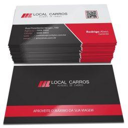 500 Cartões de Visita - 48x88mm - Couchê Fosco 300g - 4x0 - Laminação Fosca e Verniz Localizado