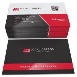 1.000 Cartões de Visita - 48x88mm Couchê Brilho 300g - frente e verso - Laminação Fosca e Verniz Localizado - Refile