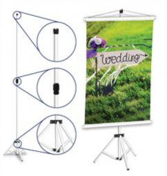 3 Porta Banner Tripé - 1200x1800mm - Alumínio Fosco - 1x1 - - Haste Telescópica Base Articulada - 1 Estágio Regulador e Pés Emborrachados