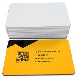 500 Cartões de Visita - 48x88mm - Couchê Fosco 300g - 4x0 - Laminação Soft Touch - 4 Cantos Arredondados