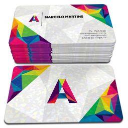 500 Cartões de Visita - 48x88mm - Couchê Fosco 300g - 4x4 - Laminação Holográfica - 4 Cantos Arredondados