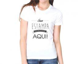 Camiseta Feminina Personalizada Estampa Média (A4)