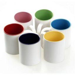Caneca de Cerâmica Branca - 325 ml com interior colorido