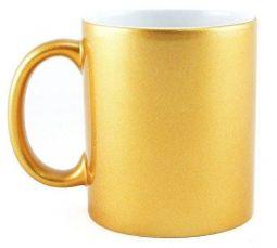Caneca de Cerâmica Cromada Dourada - 325 ml