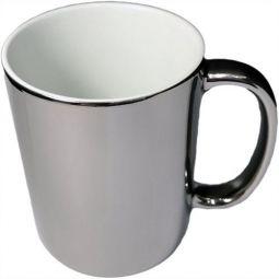 Caneca de Cerâmica Cromada Prata - 325 ml